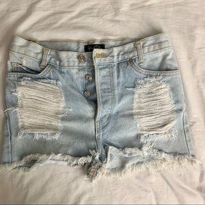 J galt/ brandy Melville distressed shorts